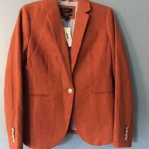 JCrew Fall Linen Cambell Orange-Red Blazer Size 4